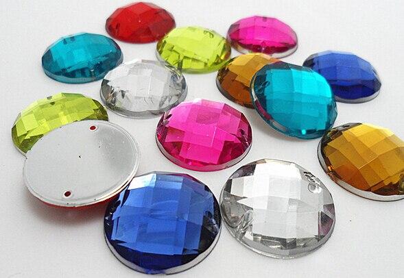 200pcs/bag 16colors 18mm Round DIY Acrylic sew on rhinestones flat back,Handmade garment Jewelry accessories 200pcs bag 100