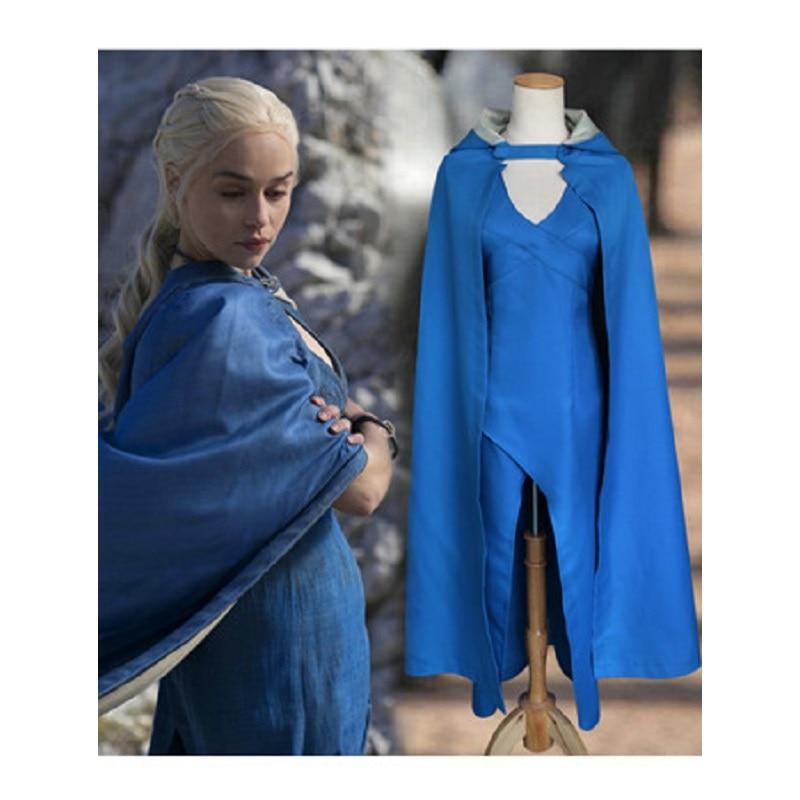 Halloween Adult Women Power Games The Mother of Dragons Costume Targaryen Daenerys Cosplay Costume Full Set Blue Dress Cloak