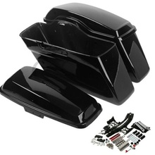 Motorcycle Painted Hard Saddlebag + Latch Lids Hardware Cover For Harley Road King Glide 14-18