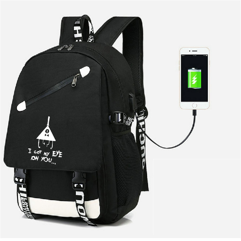 Gravity Falls Backpack Ruckback With USB Port Bag Travel School Bag USB Fashion Teenagers Casual Laptop Bag