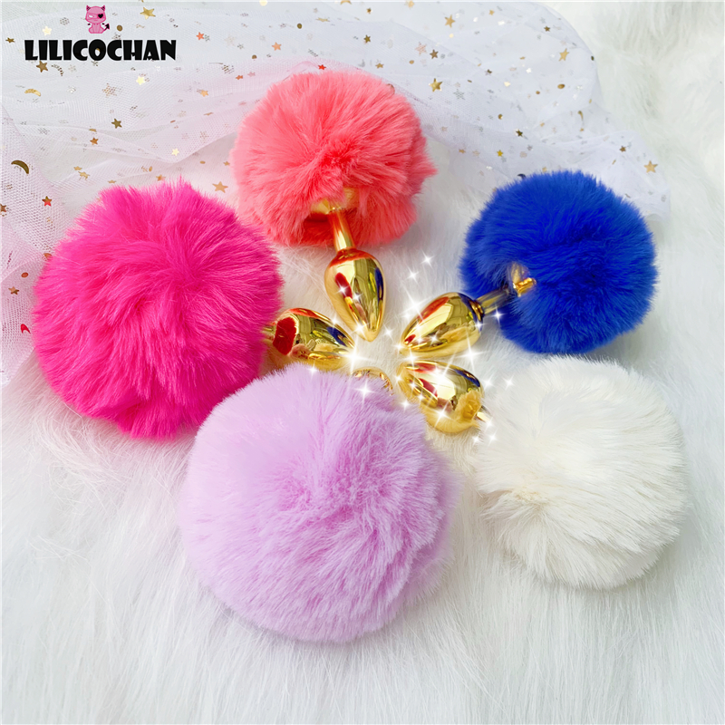 Rabbit Girl Tail Sex Toys Gold Metal Plush Anal plug Cosplay Cute Tail Anal Erotic Toy For Couples Men Women Gay Size Small