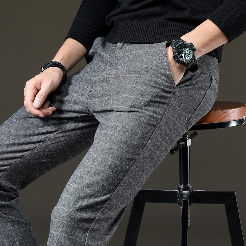 Image 5 - jantour Brand Pants Men Casual Elastic Long Trousers Male Cotton lattice straight gray Work Pant men's autumn Large size 28 38-in Casual Pants from Men's Clothing