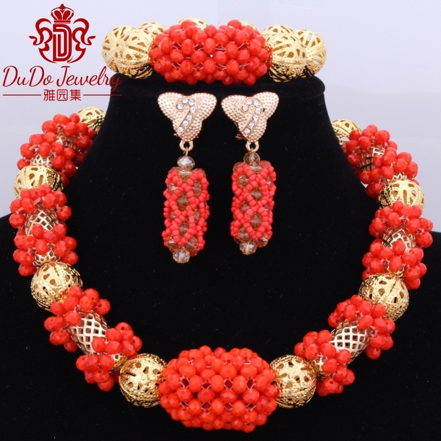 Chunky Statement Crystal Nigerian Beads Necklace Bridal Wedding Jewelry Set Orange Simple African Beads Turkish Jewelry Sets