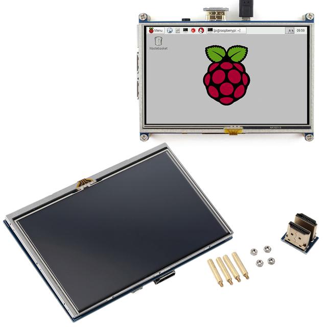"5 pulgadas 800x480 Pantalla Táctil LCD 5 ""Pantalla Para Pi2 Raspberry Pi Modelo B + A + caliente En Todo El Mundo Al Por Mayor Tienda"