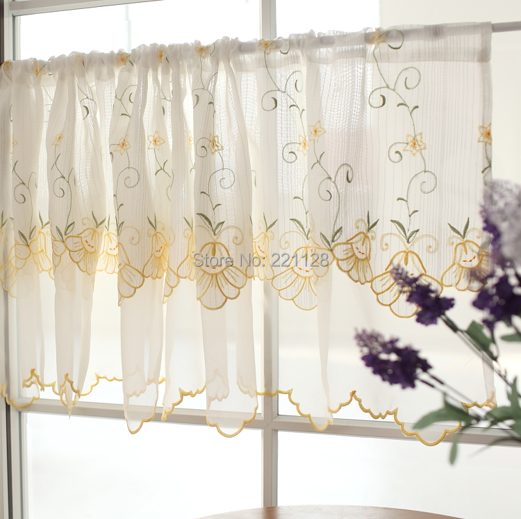 double layer embroidery coffee curtain small semi shade kitchen curtain rod pocket sheer panel two color