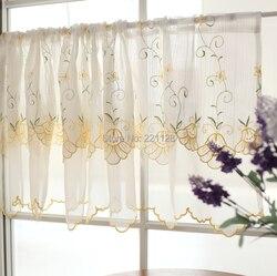 Podwójna warstwa haft kawy kurtyny małe półcieniu zasłona kuchenna kieszeń na pręt sheer panel dwa kolor