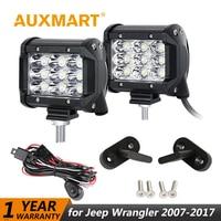 Auxmart For Jeep Wrangler 2007 2017 Light Bar 4 Inch 36W 18W Work Light Spot Flood