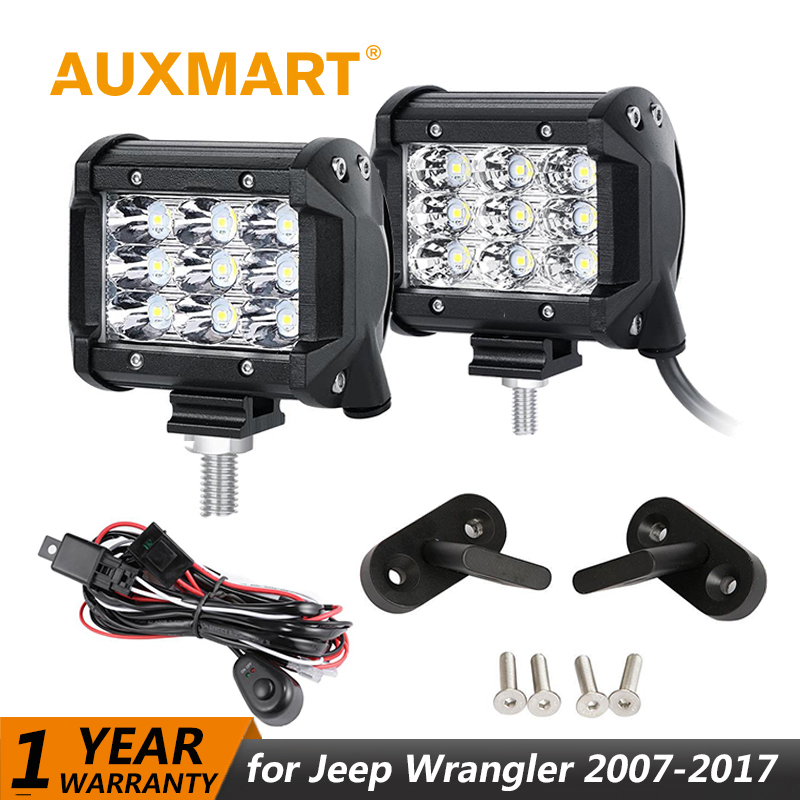 Auxmart for Jeep Wrangler 2007~2017 LED Work Light 4 40W 36W 18W Fog Light Lamp Spot Flood Beam +Mount brackets +Wire Harness left hand a pillar swith panel pod kit with 4 led switch for jeep wrangler 2007 2015