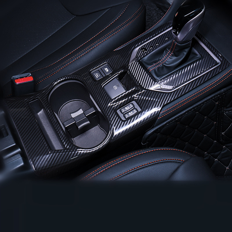 ABS Carbon Fiber Shift Control Panel Cup Box cover for Subaru XV 2018 New Style Black