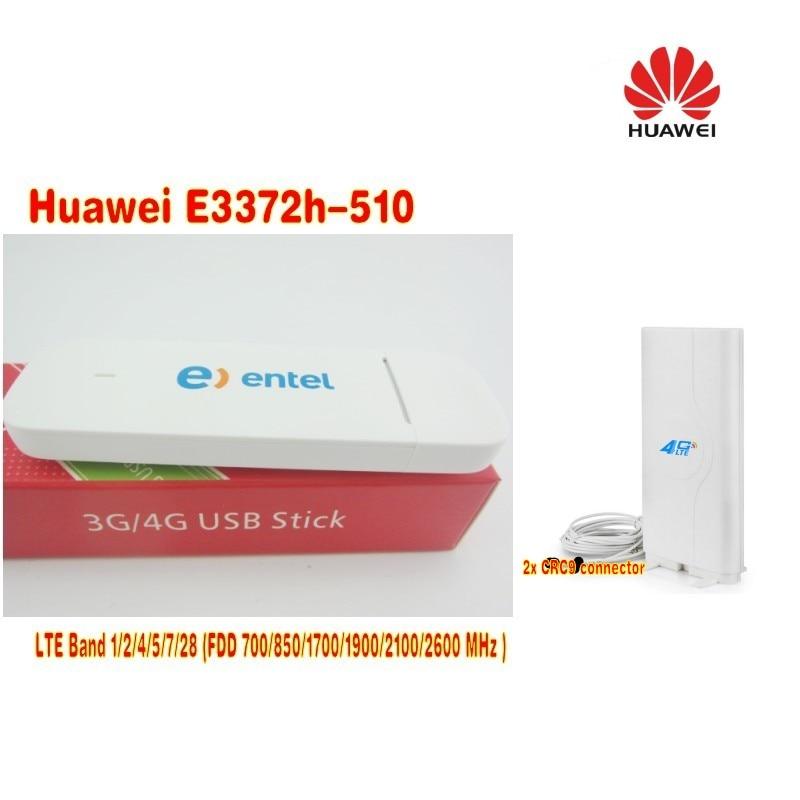 unlocked Huawei E3372h-510 LTE USB Stick Modem plus CRC9 49dbi 4G antenna US version unlocked huawei e3372 e3372s m150 2 4g lte cat4 usb stick modem broadband hotspot 49dbi crc9 4g antenna