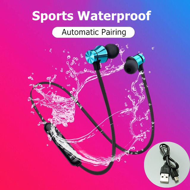 Magnetic Wireless Bluetooth Earphone Stereo Sports Waterproof Earbuds Wireless in-ear Headset with Mic For IPhone 7 Samsung
