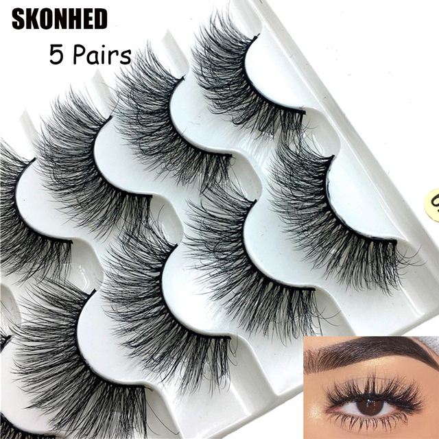 5 Pairs Faux Mink Hair False Eyelashes Natural Wispy Lashes Handmade Cruelty-free Criss-cross Eyelash Extension Big Eyes Makeup 1