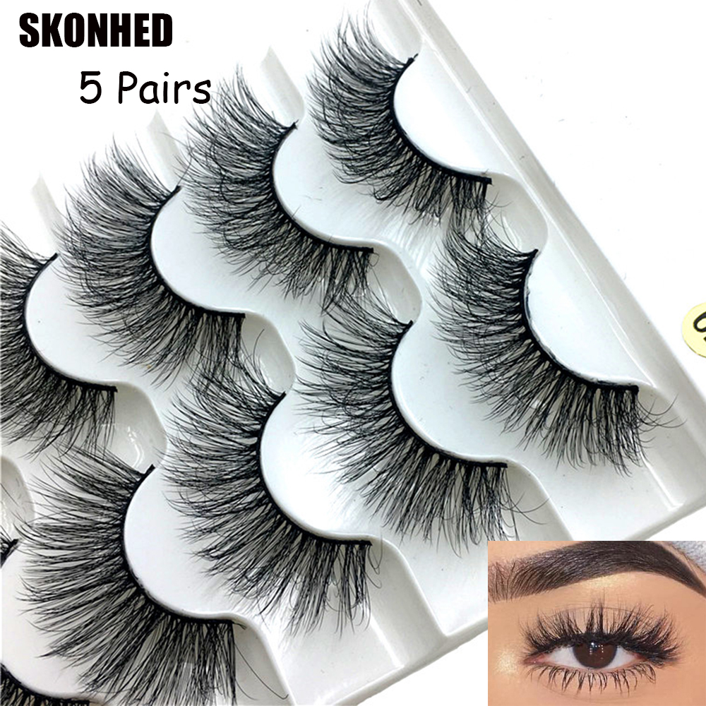5Pairs 6D Faux Mink Hair False Eyelashes7 Styles Natural Long Wispies Lashes Handmade Cruelty-free Criss-cross Eyelashes