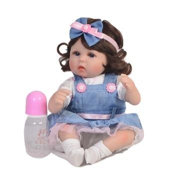 "Reborn dolls wholesale 18""43cm silicone reborn baby dolls curly hair with plush doll gift bebes reborn bonecas"
