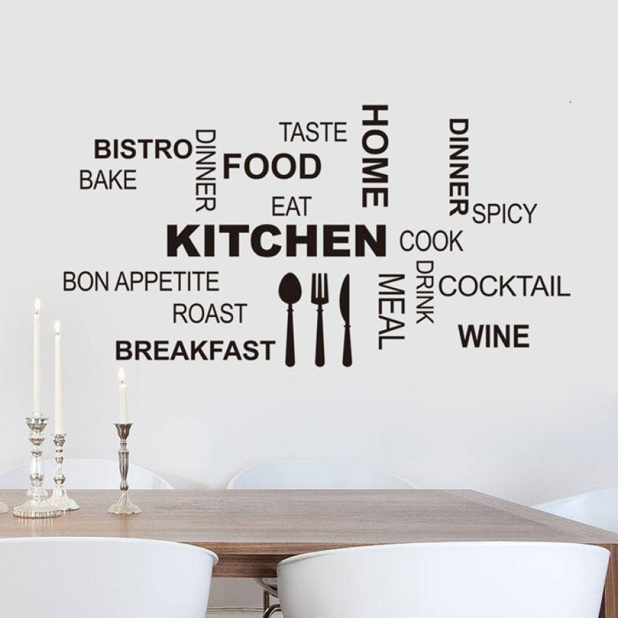 Wallpaper Sticker Kitchen Letter Removable Vinyl Wall Stickers Mural Decal Quotes Art Home Decor Wallpapers For Living Room B#
