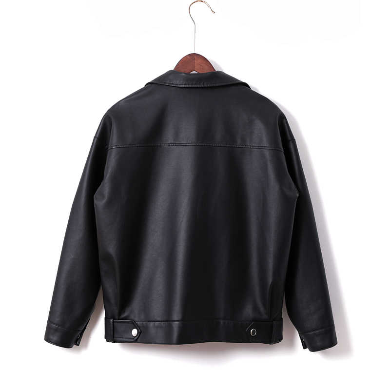 Faux Leather Zipper Down Autumn Collar Short Turn Rivet Ftlzz Punk Spring Pu Black Fashion Jackets Women Jacket TlFcJ13K
