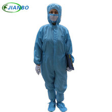 Anti Static Clothing Clean Room Dustproof Jumpsuit Garment Can Permanent Cleaning 100% Polyester Filament Conductive Fibre