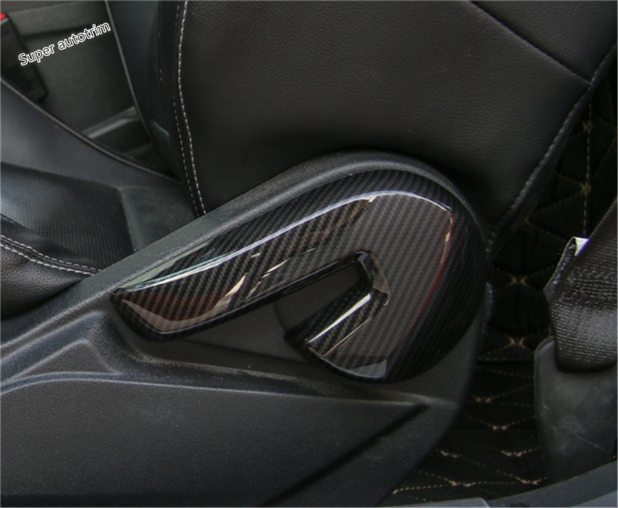 Lapetus For Ford Mustang 2015 - 2018 Seat Adjust Adjustment Backrest Handle Button Cover Trim / ABS Carbon Fiber Style