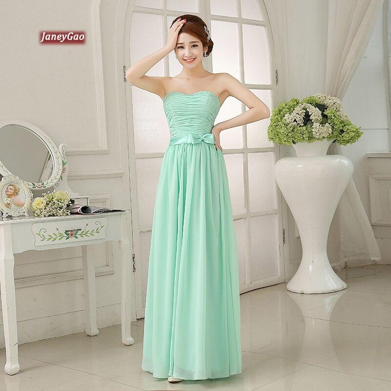 JaneyGao robes de demoiselle d'honneur 2019 élégant pas cher mousseline de soie robes de soirée longue menthe vert formel femmes robes pour la fête de mariage