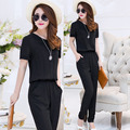 11.11 Lowest Price Women Jumpsuits Black Large Size 4XL Short-Sleeve Summer Overalls Chiffon One Piece Pants Lapel Long Trousers