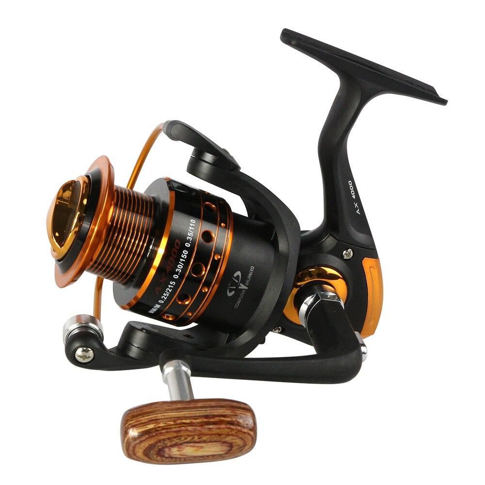 New GermanTechnology AX 12+1BB 5.2:1 Wood handle fishing Wheel 500-9000 fishing reel Spinning Fishing Reels Carp Fishing Tackle