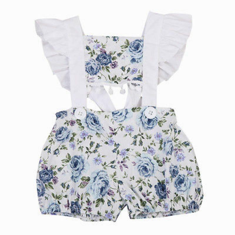 Newborn Baby Girls Infant Cotton Lace Sleeveless Tassels Floral Romper One Piece Playsuit Jumpsuit Outfits Sunsuit Clothes 0-24M