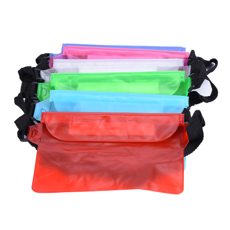 1pcs Waterproof Waist Bags Phone Pouch Belt Pack PVC Clear Fanny Pack Bags Ladies Zip Transparent Beach Belt Bag Women&Men