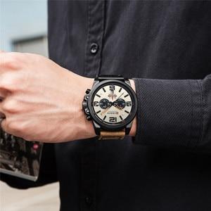 Image 3 - Curren relógio de pulso quartzo masculino, com pulseira de couro com data estiloso casual formal para homens 8314