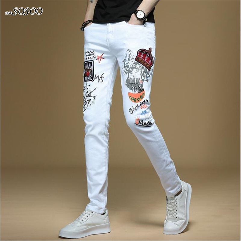 New Men Jeans Hand-painted Letter Printing 100% Cotton White Denim Skinny Jeans Men Korean Style Fashion Men Jeans #1311