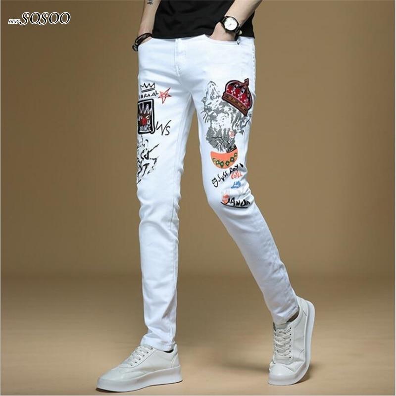 New Men Jeans Hand-painted Letter Printing 100% Cotton White Denim Skinny Jeans Men Korean Style Fashion Men Jeans #1311