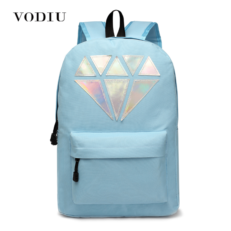 Women Backpack For Teenagers Girls Boy Laptop Holographic Silver Diamond School Bag Unisex Female Men Brand Casual Big Backpacks