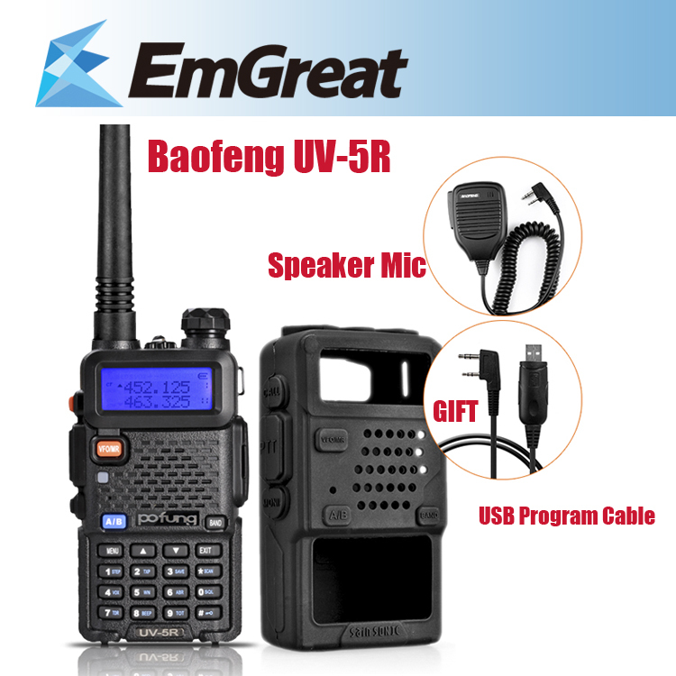 Baofeng UV-5R Portable Walkie <font><b>Talkie</b></font> UHF/VHF FM Function + Rubber Case Cover + BF-S112 Speaker Mic + USB Program Cable (Gift)