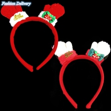Cute Kids Christmas Headdress Festival Decoration Headband With Metallic Small Bells Gloves Patterns Fashion Hair Accessories