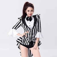 Costumes for Women Modern Dance Costume Clothing Fashion Band Jazz Dance Performance Clothing With Bow Swallowtail Coat
