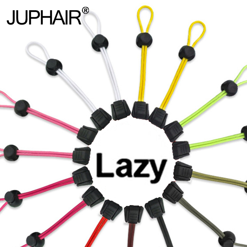 JUP 1 Pair New Multicolor Lace Black Buckle No Tie Locking Shoelaces Elastic Women Men Trainer Running Athletic Sneak Shoe Laces
