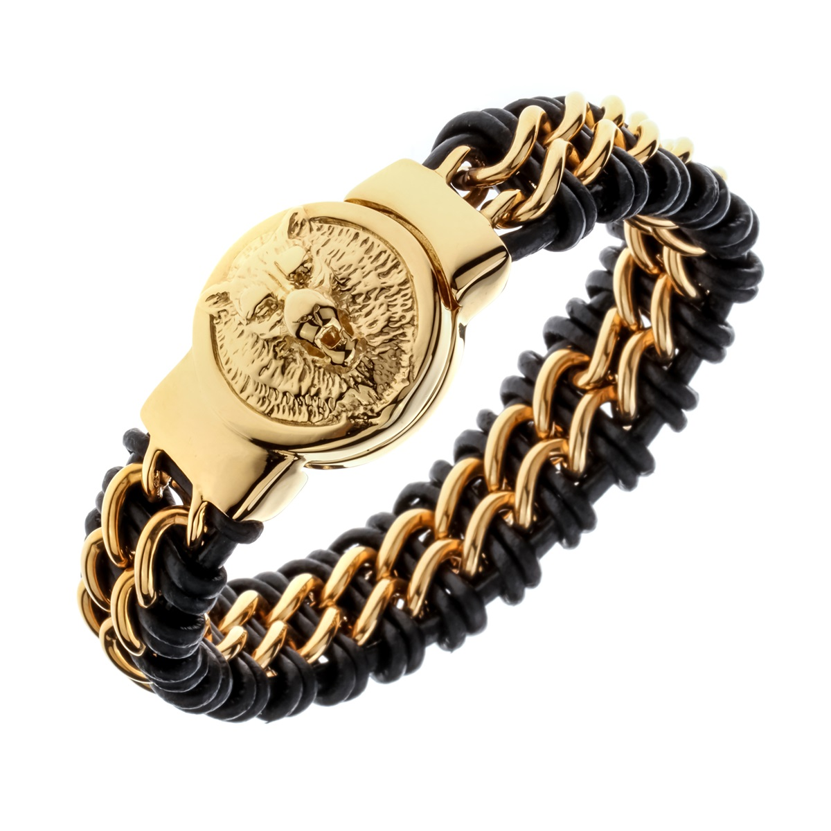 """Mens black leather stainless steel gold silver color wolf chain link bracelet heavy jewelry birthday gifts for dad him 9"""" D073"""