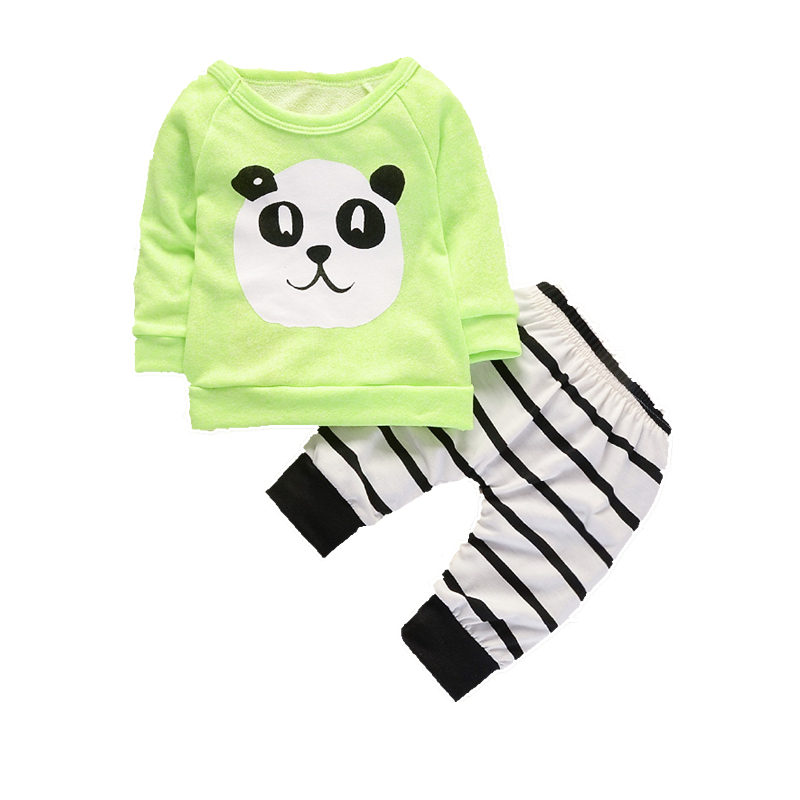 Fashion Baby Clothing Children Boys Girls Cartoon Panda T-shirt Striped Pants 2Pcs/Sets Spring Autumn Infant Clothes Tracksuits