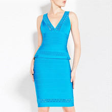 2 Colors Top Quality Celebrity Keyhole Rayon Bandage Dress Bodycon Party Dress