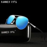 HD поляризационные для мужчин винтаж алюминиевые солнцезащитные очки классический бренд вождения Защита от солнца очки металлический рамк...