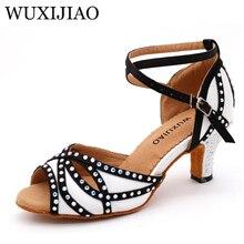 WUXIJIAO/блестящие стразы; обувь для латинских танцев; женская обувь для сальсы с мягкой подошвой; Бальные вечерние туфли для танцев; Сатиновые белые сандалии