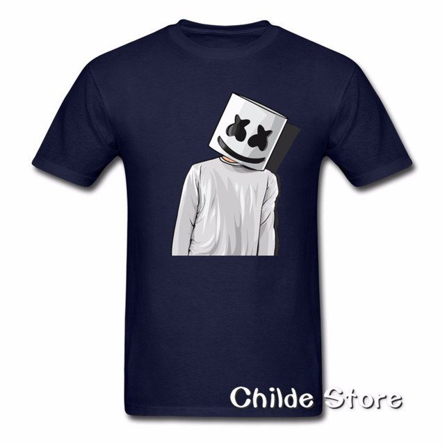 fe021e05 2018 Cheap Price Unique Tee Shirts Marshmello FAN ART mens t shirts Youth  Short T-Shirt Crew Neck Hombre Funny Tees