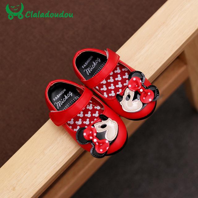 Bebé Sapatos Mocassins Chaussure Minnie Bebê Dos Desenhos Animados De Couro PU Princesa Pura Primeira Walker Infantil Criança Flor Sapatos de Crianças
