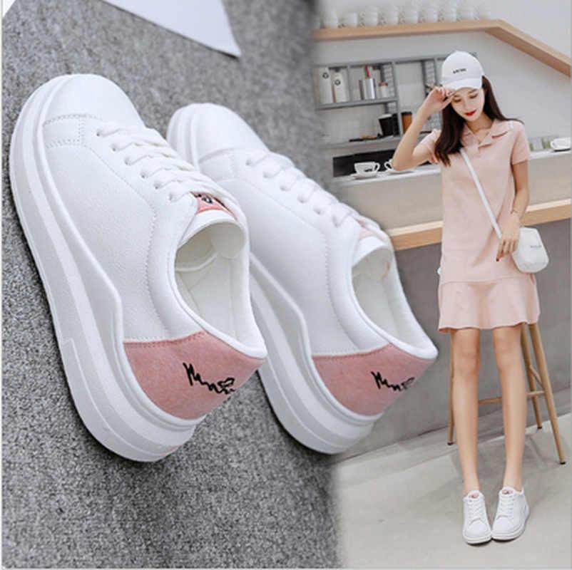 fb1f3b96e 2018 Весенние новые дизайнерские туфли на танкетке белые женские кроссовки  на платформе женские tenis feminino повседневные