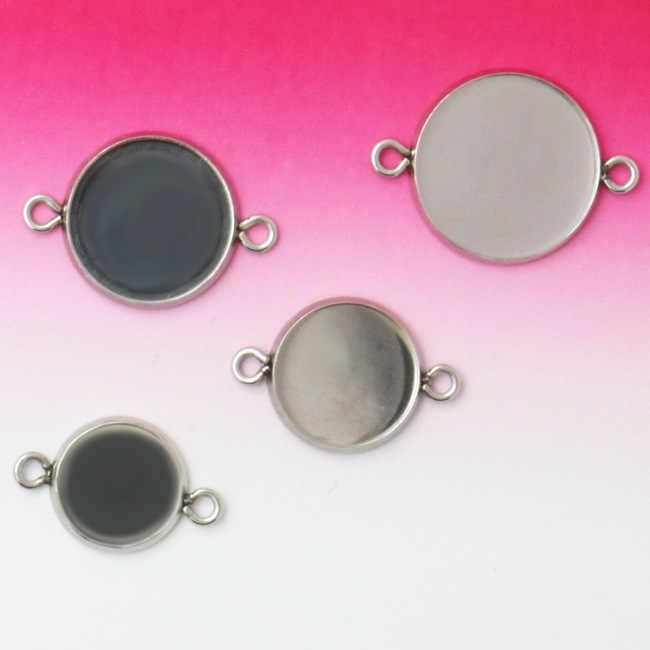 MINGXUAN 10 pièces acier inoxydable 8-20mm bijoux Double trou connecteur blanc Base plateau lunette ajustement Cabochon camée bracelet à bricoler soi-même
