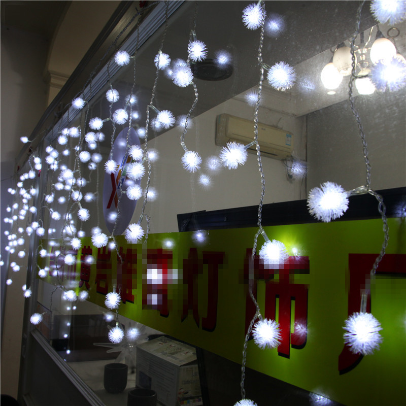 ФОТО 4*0.5m LED Cherry Ball Curtain String Lights for Fairy Wedding Party decorative Garland New Year Christmas LED holiday lighting