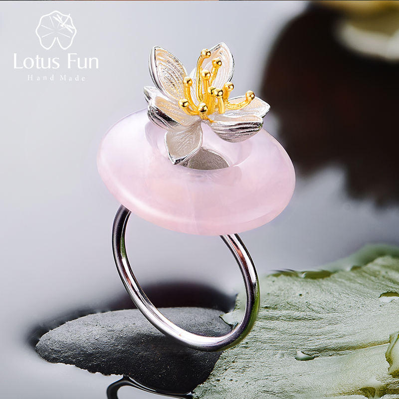 Lotus Fun Real 925 Sterling Silver Natural Pink Stone Creative Handmade Fine Jewelry Lotus Whispers Ring For Women Brincos