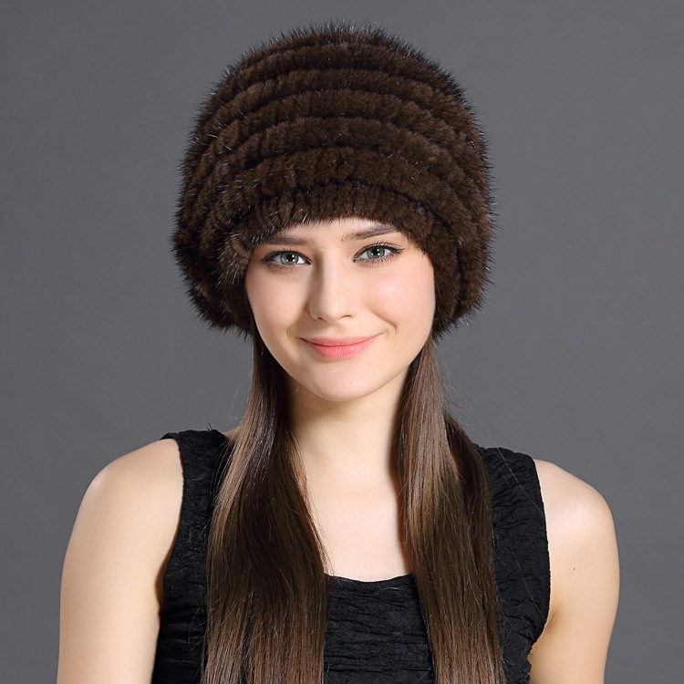 Real Fur Hat Women New Winter Natural Mink Fur Hat Lining Knitted Beanie Red Wine Elegant Brown Black Solid Hat