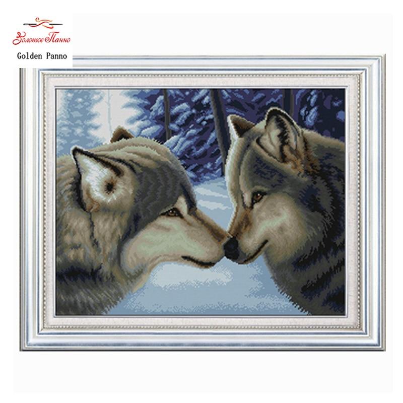 Aur Panno, Prelucrare de nunta, Broderie, DIY Animal Painting, Cusatura Cross, kituri, 11ct cupluri de lupi acasa Cross-cusatura, Seturi pentru broderie