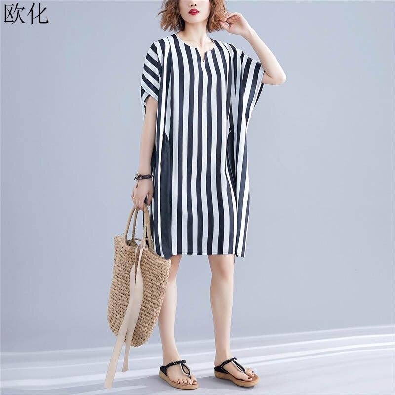 Women Chiffon Dress Plus Size 4XL 5XL 6XL 7XL Boho Dresses Oversize Casual Loose Striped Batwing Midi Dress 2019 Beach Sundress