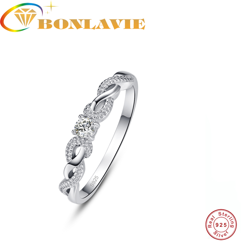 BONLAVIE 925 Sterling Silver Twisting Wave Zircon CZ Engagement Rings For Women Wedding Band Rings female anel Jewelry Gifts